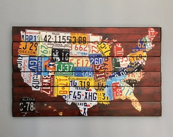 License Plate Map Etsy - Us map with license plates