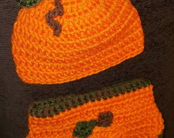 Lil Pumpkin Diaper cover and hat