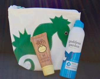 Sunblock Bag -Green Seahorse - Made from Recycled Sail