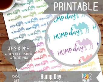 Hump Day Printable Planner Stickers, Erin Condren Planner Stickers, EC Printable Stickers, Functional Hump Day Stickers - CUT FILES