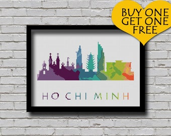 Cross Stitch Pattern Ho Chi Minh Vietnam City Silhouette Rainbow Watercolor Painting Effect Modern Decor City Skyline Xstitch