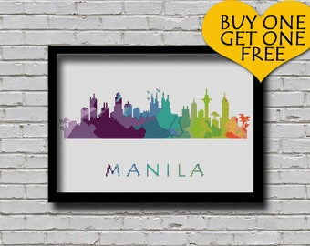 Cross Stitch Pattern Manila Philippines City Silhouette Rainbow Watercolor Painting Effect Modern Decor Embroidery City Skyline Xstitch