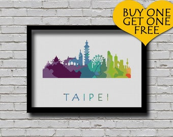 Cross Stitch Pattern Taipei Taiwan City Silhouette Rainbow Watercolor Painting Effect Modern Decor Embroidery City Skyline Xstitch