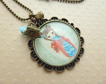 Vintage mod style Kokeshi necklace 6