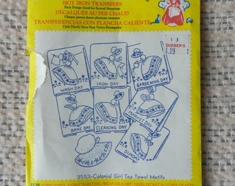 Aunt Martha's Hot Iron Transfers - No. 3553 Colonial Girl Tea Towel Motifs - For Embroidering Dish Towels