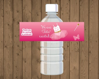 Ballerina / Tutu Water Bottle Label for Baby Shower