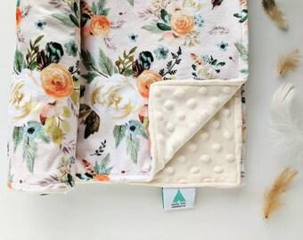 Automn Floral Designer Minky Baby Blanket -  Plaid Blanket - Baby Shower gifts girl - Baby Blankets Girl - New Baby Gift - Boho Nursery