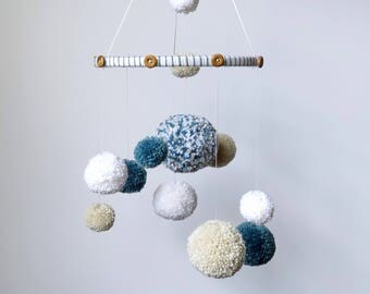 Blue pom pom mobile, pom pom baby mobile, nursery decor boy, white tan and dusty blue, yarn mobile, baby mobile nursery boy, pom pom mobile
