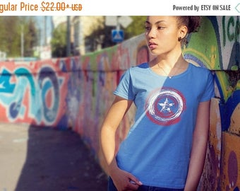 SALE TODAY Shield Inspired Streak Remix | Captain America Shield | Marvel | Ladies Fitted T-shirt | Captain America