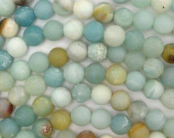 """8mm matte amazonite round beads 15"""" strand 38647"""
