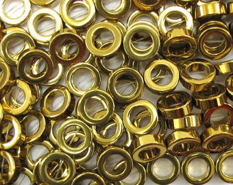 "12mm gold plated hematite donut beads 16"" strand 33648"