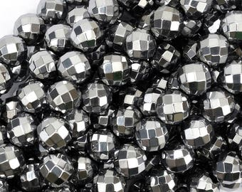 """12mm faceted silver hematite round beads 15.5"""" strand 38948"""