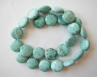 "16mm chrysocolla coin disc beads 16"" strand gemstone 1907"