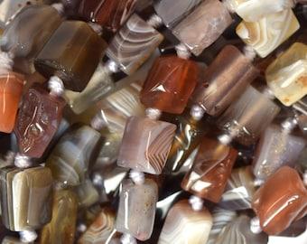 "7-9mm botswana agate nugget beads 16"" strand 39835"