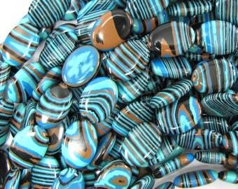 "18mm blue rainbow calsilica flat oval beads 15.5"" strand 31590"