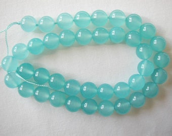 "AAA 10mm blue chalcedony round beads 16"" strand 11093"