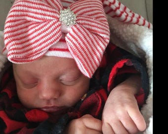 Elf bow hat for Christmas!  Baby girl Christmas hospital hat with bow bling,  holiday coming home hat, red and white striped