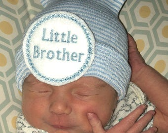Little Brother newborn Beanie, baby boy, New born boy, infant blue striped hat, shower gift, made in the USA, Hospital Hat.