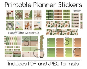 Woodland Friends Printable Planner Sticker Kit