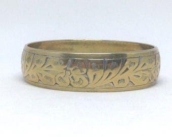 Vintage Estate Signed India Floral Gorgeous Gold Tone Bangle Bracelet