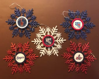 INVENTORY CLEARANCE SALE! Snowflake Christmas Ornament Set   New York Rangers   Set of 5