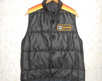 Vintage 1980s Ski Doo Snowmobile Bombardier Puffy Puffer Black Vest Sleeveless Patch Snap Front Retro Hipster Mens Medium - Womens Large