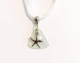 Sea Glass and Starfish with Pearl Pendant Necklace / Sea Glass Jewelry/Ribbon Necklace