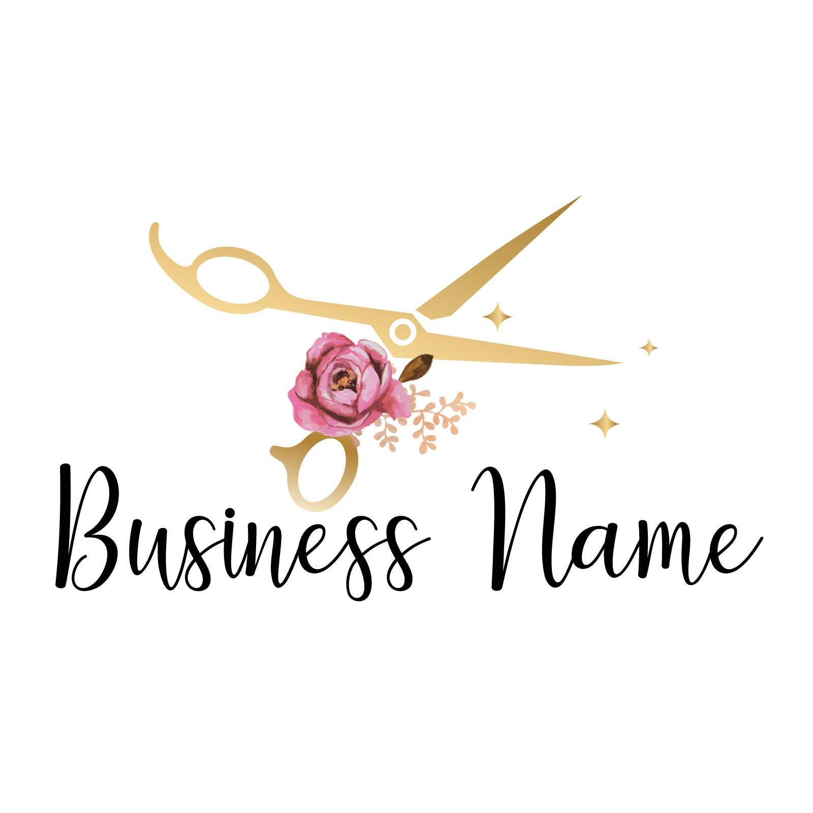 custom logo design scissors with flowers logo gold scissors