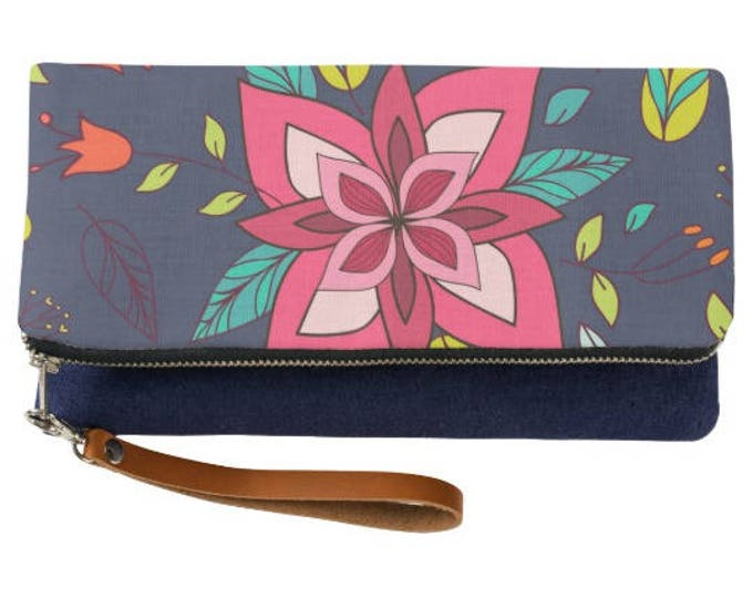 Boho Pink Flower Fold Over Clutch