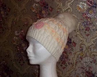 Knitted White-orange hat