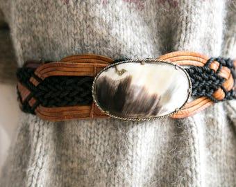 Handmade Leather Belt | Horn Buckle Belt | Artisan Leather Belt |Crochet Leather Belt|Round Buckle Belts |Western Belt |Oval Buckle Belt |