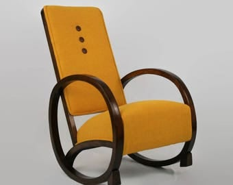 Art Deco Rocking Chair in Yellow Harris Tweed