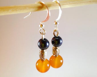 Silver 925, Hematite and carnelian earrings
