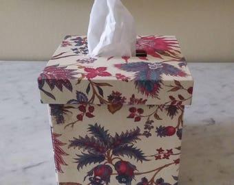 Tissue box, Kleenex box, fabric les Indiennes, Tissue box cover, Cube tissue box cover, Tissue box holder