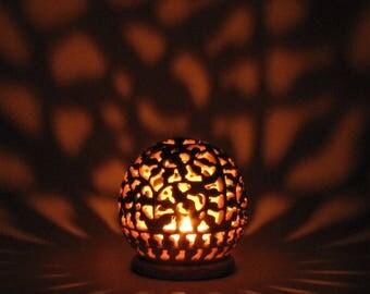 Natural soapstone Candle tea light holder,Indian artifacts, intricate floral carving and  design,t light holder, incense cone burner.Toonto
