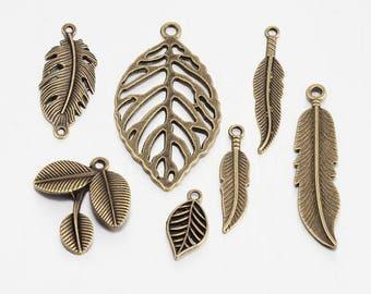 MIX 5pieces zinc alloy antique bronze leaf charms between 2 and 5cm