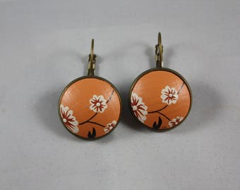 Earrings 'Laurette' Japanese flower bronze 20mm