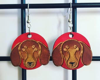 Wooden Dachshund earrings