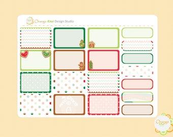 Gingerbread Weekly Kit Half Box Planner Stickers, Erin Condren Life Planner, Happy Planner