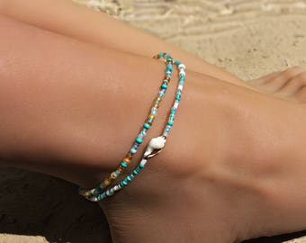 Turquoise Anklet, Ankle Bracelet, Foot Bracelet, Beaded Anklet, Beach Anklet , Beach Jewelry, Anklets for Women, Boho Anklet, Foot Jewelry