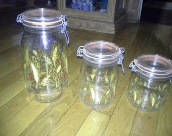 Glass canister set 3 piece