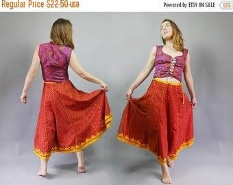 SALE 25% Orange Block print Cotton Indian Skirt A-line Midi Festival Gypsy skirt Mirror Patch Detail Hippie skirt Midi length Medium size