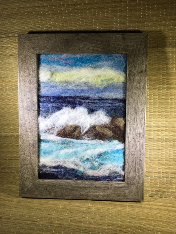 Felting seascape painting in blues