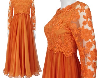 Vintage Prom Dress XS S, Orange Ball Gown, Lace Prom Dress, Chiffon Prom Dress, 60s Formal Gown, Long Sleeves, Ab Stones, SIZE XS S 0 2 4