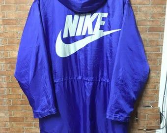 Vintage Nike 90s Hoodies Big Logo Zipper Jumper Blue Xl
