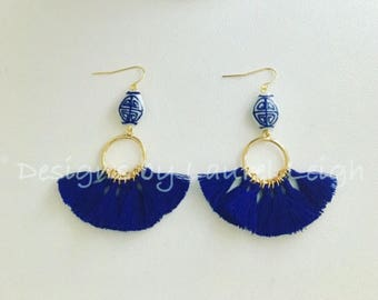 Ginger Jar Tassel Earrings | ROYAL BLUE, gold, blue and white, statement earrings, lightweight