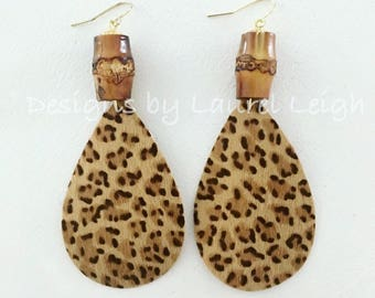 LEOPARD PRINT and BAMBOO Earrings | Chinoiserie, statement earrings, gold, animal, print, leather, cheetah, fur