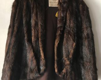 Vintage mink bolero , retro style real fur bolero .