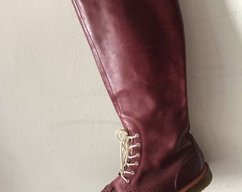 Burgundy leather boots martins woman size 9 .