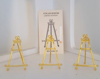 Limited Edition Edgar Berebi Gold Pin Easel Brooch Display Stand Jewelry Display Easel